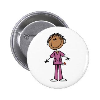 African American Female Stick Figure Nurse Button