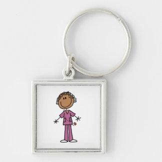 African American Female Stick Figure Nurse Key Chain