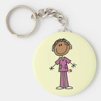 African American Female Stick Figure Nurse Key Chains