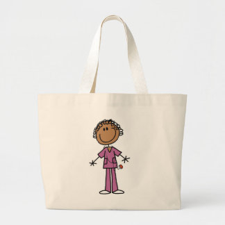 African American Female Stick Figure Nurse Large Tote Bag