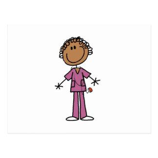 African American Female Stick Figure Nurse Postcard