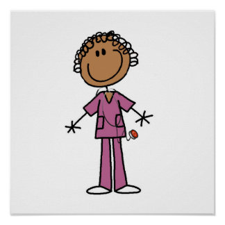 African American Female Stick Figure Nurse Print