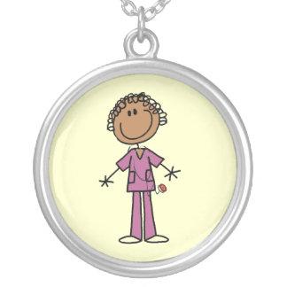 African American Female Stick Figure Nurse Silver Plated Necklace