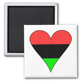 African American Flag Heart 2 Inch Square Magnet