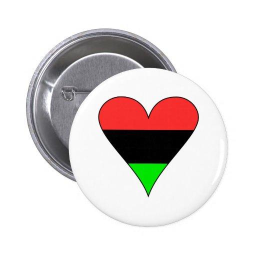 African American Flag Heart Pins
