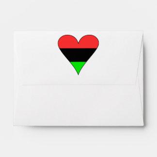 African American Flag Heart Envelopes