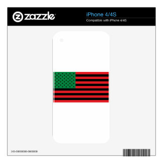 African American Flag - Red Black and Green Skins For iPhone 4S