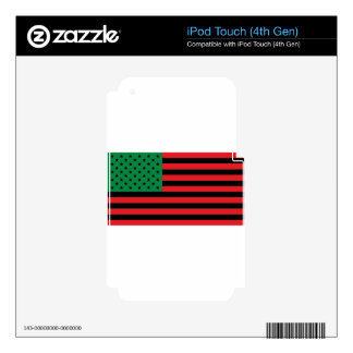 African American Flag - Red Black and Green Skins For iPod Touch 4G