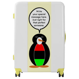 African American Flag Talking Penguin Luggage