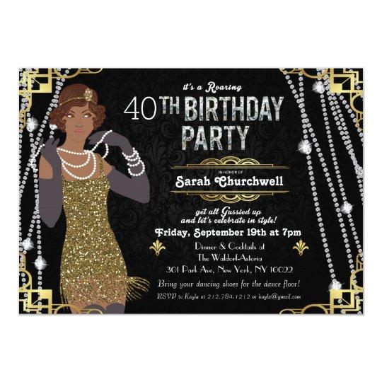 African American Flapper Girl Birthday Invitation Zazzle Com