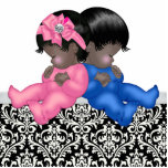 """African American Gender Reveal Baby Shower Statuette<br><div class=""""desc"""">Adorable African American baby girl and boy gender reveal or twin baby shower acrylic cutout is perfect for table decoration and for baby&#39;s room. The design will be cut out around the babies and the damask base will sit in a stand.</div>"""