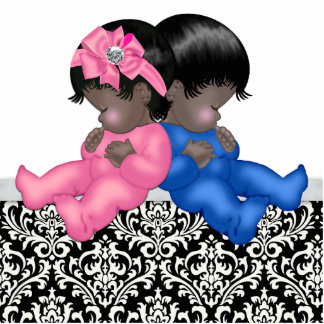 African American Gender Reveal Baby Shower Statuette