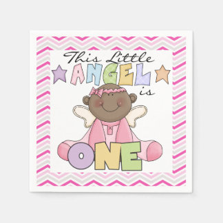 African American Girl 1st Birthday Paper Napkins