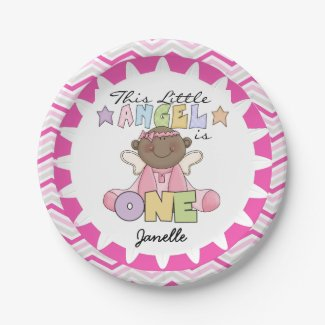 African American Girl 1st Birthday Paper Plates 7 Inch Paper Plate