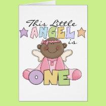 African American Girl Angel 1st Birthday Card
