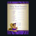 """African American Girl Baby Shower Games Flyer<br><div class=""""desc"""">African American ethnic baby girl wearing a pretty purple tutu and string of pearls on a pair of elegant gold high heel shoes. This cute baby shower game card has baby word scramble on one side, and nursery rhyme quiz on the other. This adorable purple and gold baby shower game...</div>"""