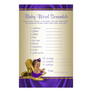 African American Girl Baby Shower Games Flyer