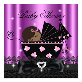 African American Girl Baby Shower Party Pink Card