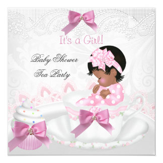 African American Girl Baby Shower Pink Baby Teacup Card