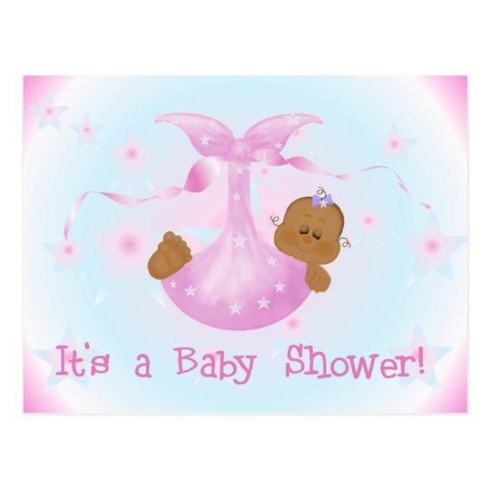 African American Girl Baby Shower Postcard