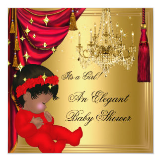 African American Girl Baby Shower Red Gold Card