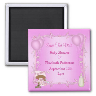 African American Girl Baby Shower Save The Date Magnet