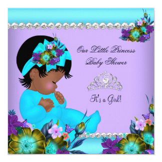 African American Girl Baby Shower Teal Purple Card