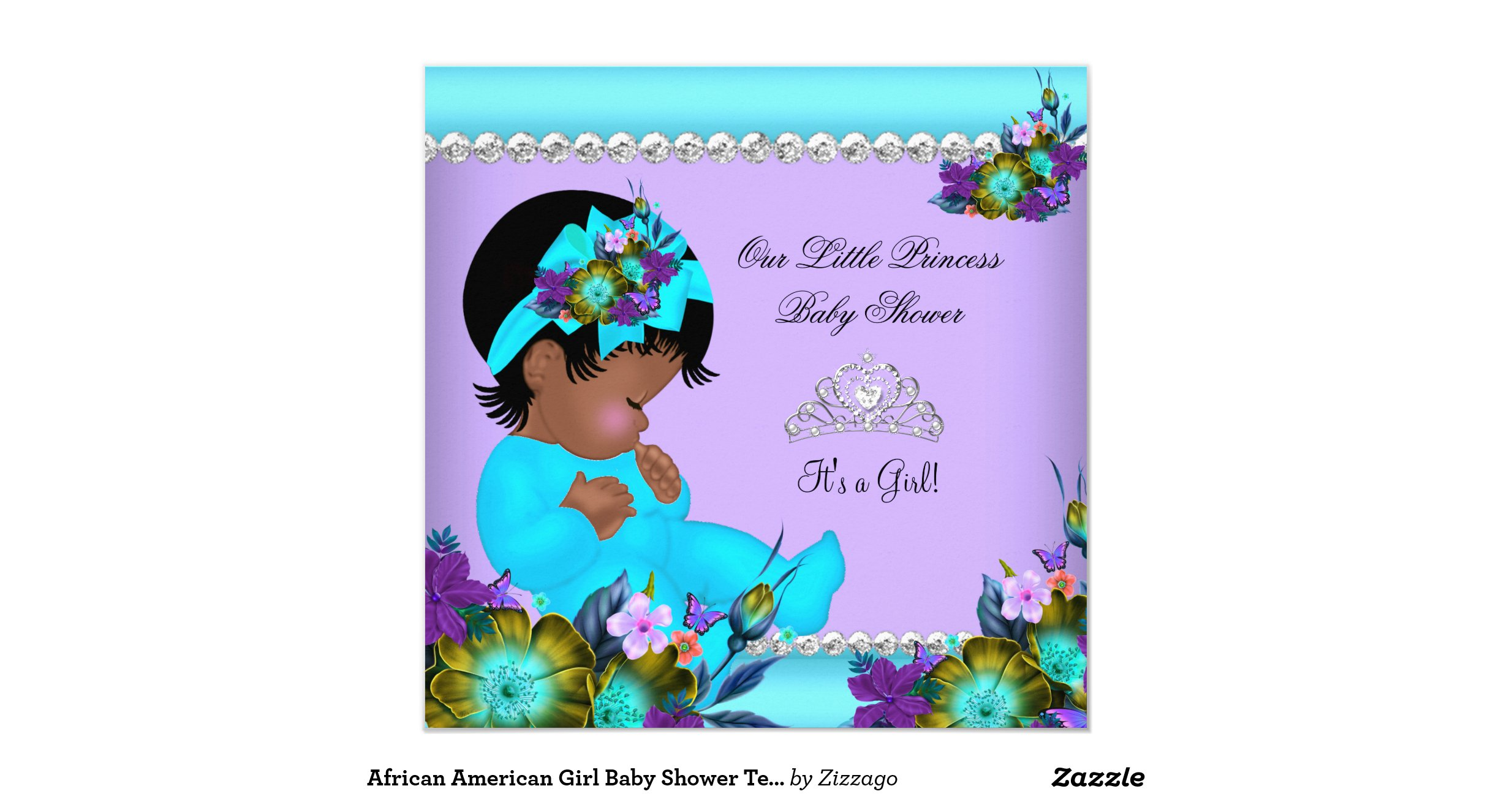 african american girl baby shower teal purple invitation