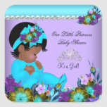 African American Girl Baby Shower Teal Purple Square Sticker