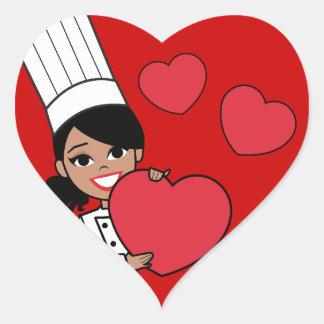 African American Girl Baker Heart Stickers