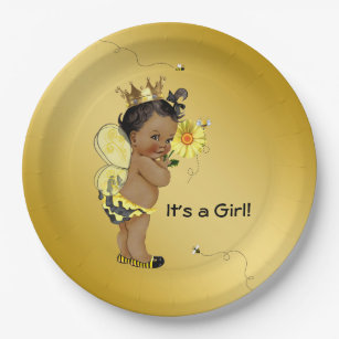 African American Girl Bee Baby Shower Paper Plate  sc 1 st  Zazzle : paper plate bee - pezcame.com