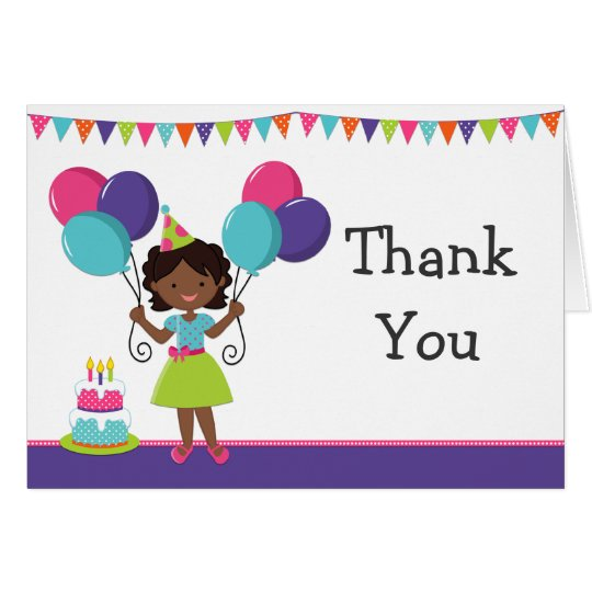 african american girl birthday party thank you card  zazzle, Birthday invitations