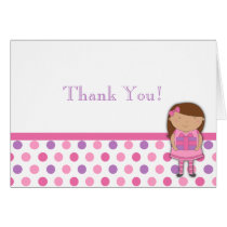 African-American Girl Birthday Thank You Note Card