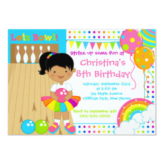 African American Girl Bowling Birthday Party Card