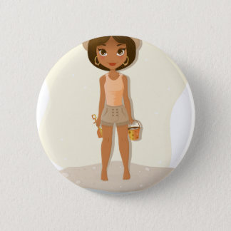 African American Girl Button