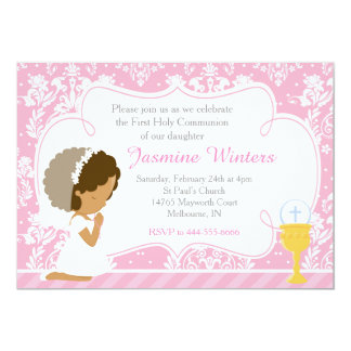 African American Girl First Communion Damask Card