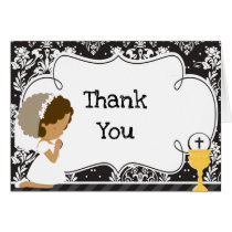 African American Girl First Communion  'Thank You' Card