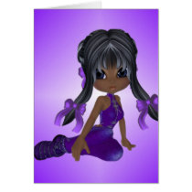 African American Girl in Purple Clothes Card