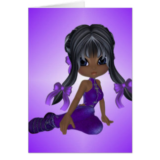 African American Girl in Purple Clothes Greeting Card