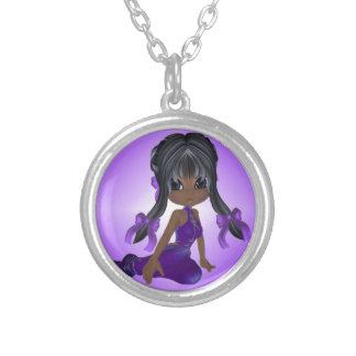 African American Girl in Purple Clothes Jewelry