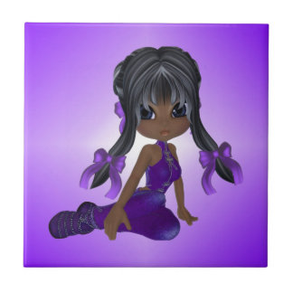 African American Girl in Purple Clothes Tile