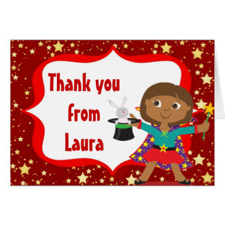 African American Girl Magician Thank You Note Card
