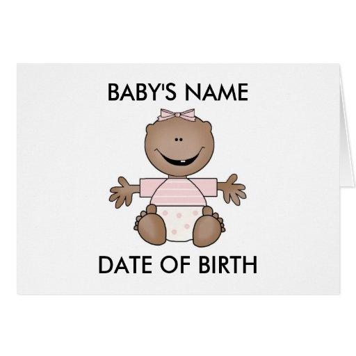 African American Girl Newborn Cards