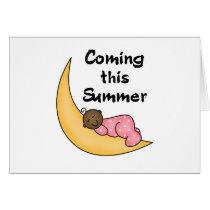African American Girl on Moon Summer Card