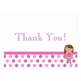 African American Girl Polka Dot Thank You Card
