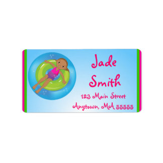 African American Girl Pool Party Address Labels