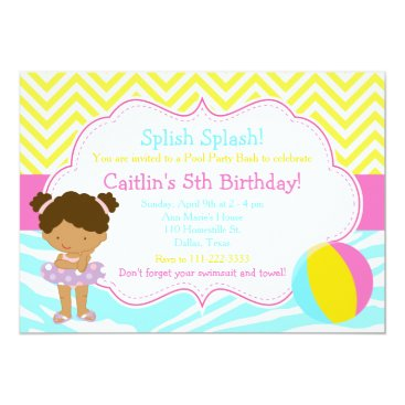 Beach Themed African American Girl Pool Party Bash Party Card