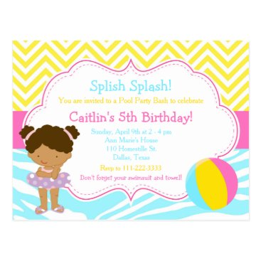 Beach Themed African American Girl Pool Party Bash Party Postcard