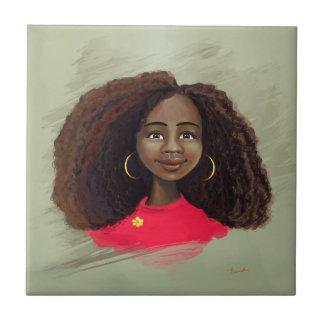 African American girl portrait tile