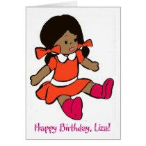 African-American Girl Rag Doll Birthday Card